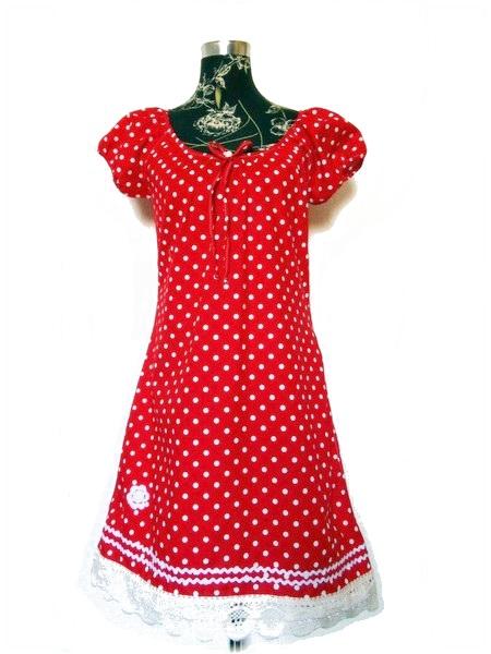 0c7e3007ebc Rotes Punktekleid mit Baumwollborte - Zellmann Fashion